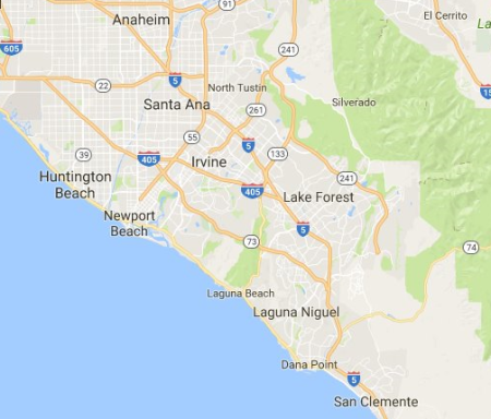 RPM Socal Orange County CA. Service Map