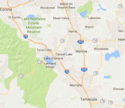 RPM Socal Riverside County CA. Service Map